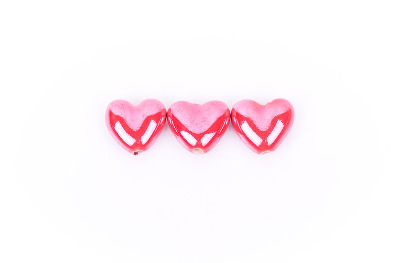 5 CRIMSON RED Ceramic Porcelain Heart Shaped Beads  20x18mm bgl0302
