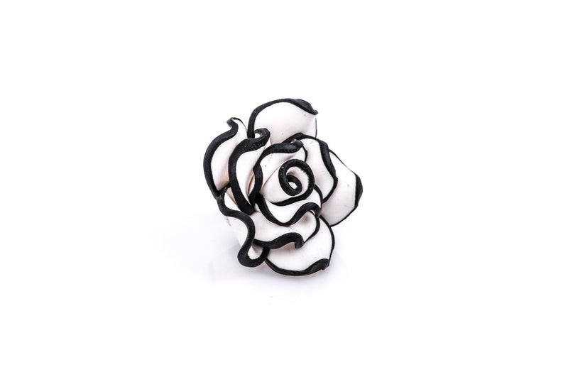 2 Medium BLACK AND WHITE Polymer Clay Rose Flower Beads  pol0013