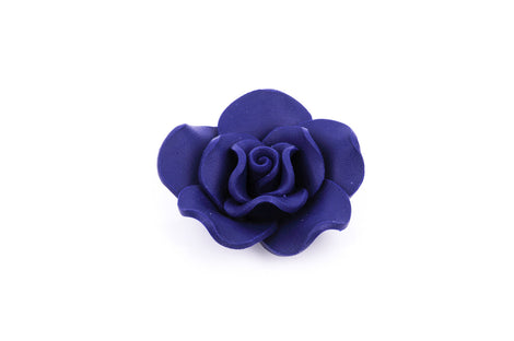 2 Large NAVY BLUE Polymer Clay Rose Beads pol0022