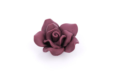 2 Large BURGUNDY Maroon Polymer Clay Rose Beads pol0088