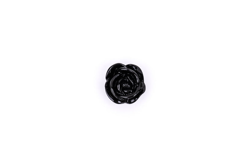 10 Rose Flower Cabochons, flatback, Shiny JET BLACK, 13mm  cab0111