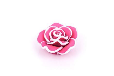 2 Medium HOT PINK Polymer Clay Rose Flower Beads pol0033