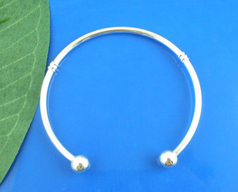 "Silver Plated Cuff Bracelet . Fits European Style Beads  19cm (7.5"") add your own beads fin0146a"