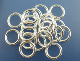 50 Silver Plated Thick Open Jump Rings 10mm x 1.5mm, 15 gauge wire  jum0080a
