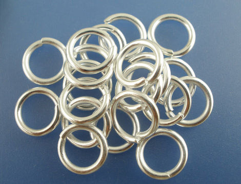 BULK 200 Silver Plated Thick Open Jump Rings 10mm x 1.5mm, 15 gauge wire  jum0080b