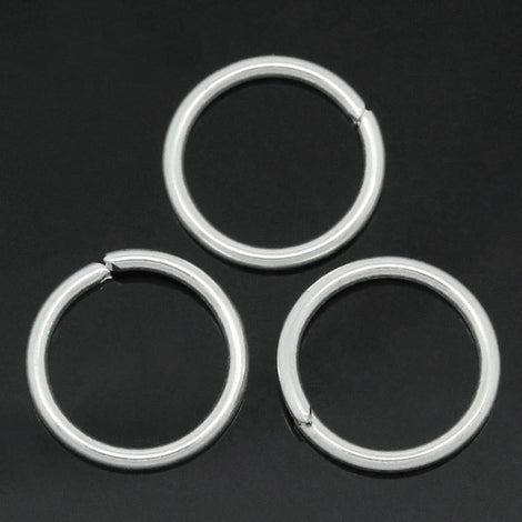 BULK 500 Silver Plated Thick Open Jump Rings 10mm x 1mm, 18 gauge wire  jum0081b
