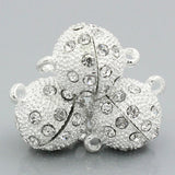 1 Strong Magnetic Bright Silver Ball Clasp with Pave' RHINESTONES, 16mm ball, fcl0096