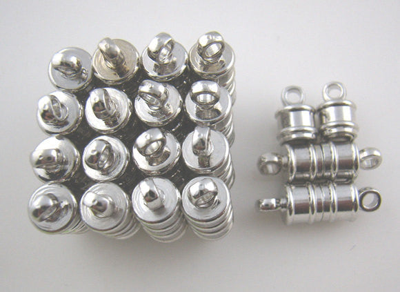 2 Silver Tone Metal Magnetic Barrel Clasps, 17x5mm  fcl0099