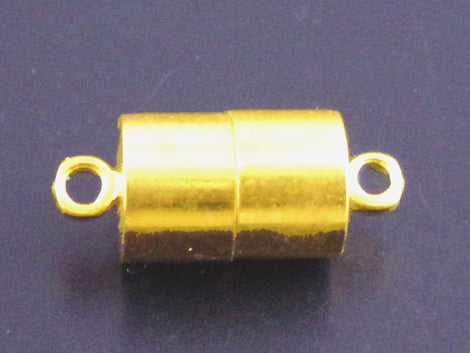 2 Strong Magnetic Bright Gold Plated Metal Barrel Clasps, 17x7mm  fcl0100