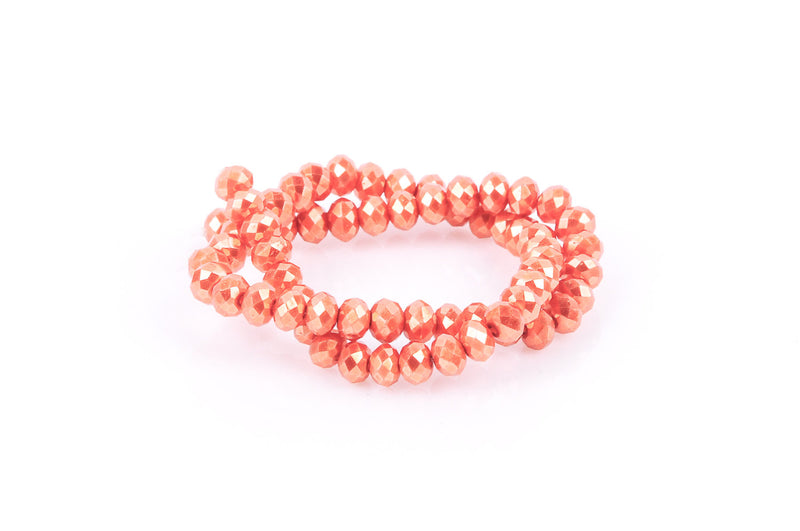 10x7mm Metallic Pearl TANGERINE ORANGE Opaque Crystal Glass Faceted Rondelle Beads . 1 Strand, bgl0342
