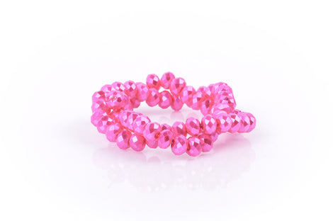 10x7mm Metallic Pearl HOT PINK Opaque Crystal Glass Faceted Rondelle Beads . 1 Strand, bgl0343