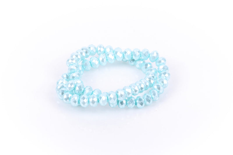 10x7mm Metallic Pearl LIGHT PASTEL BLUE Opaque Crystal Glass Faceted Rondelle Beads . 1 Strand, bgl0346