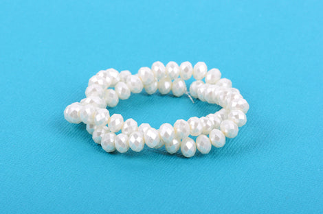 10x7mm Metallic Pearl OFF-WHITE Opaque Crystal Glass Faceted Rondelle Beads . 1 Strand, bgl0349
