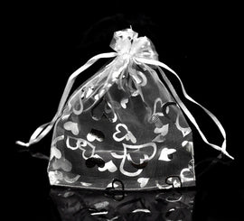 "50 Organza Bags, Silver WEDDING HEARTS Pattern, 16cm x 13cm, 6"" x 5""  bag0002"