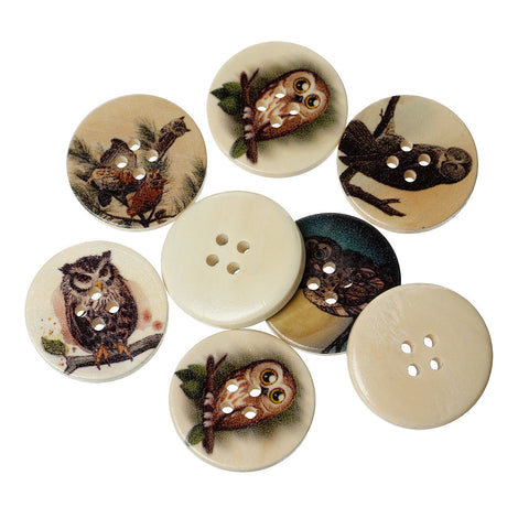"50 pcs WOOD OWL BUTTONS  30mm  (1-3/8"")  Scrapbooking . Beading . Sewing . But0031"