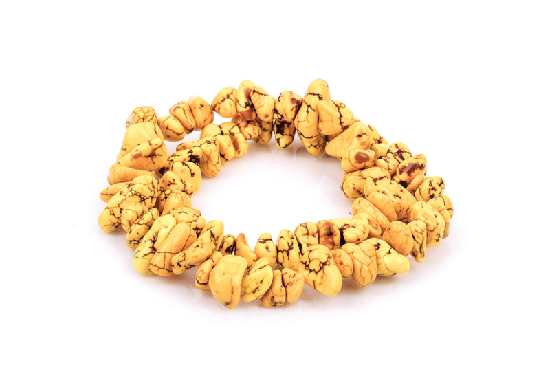 1 Strand Magnesite YELLOW NUGGET Beads  how0292