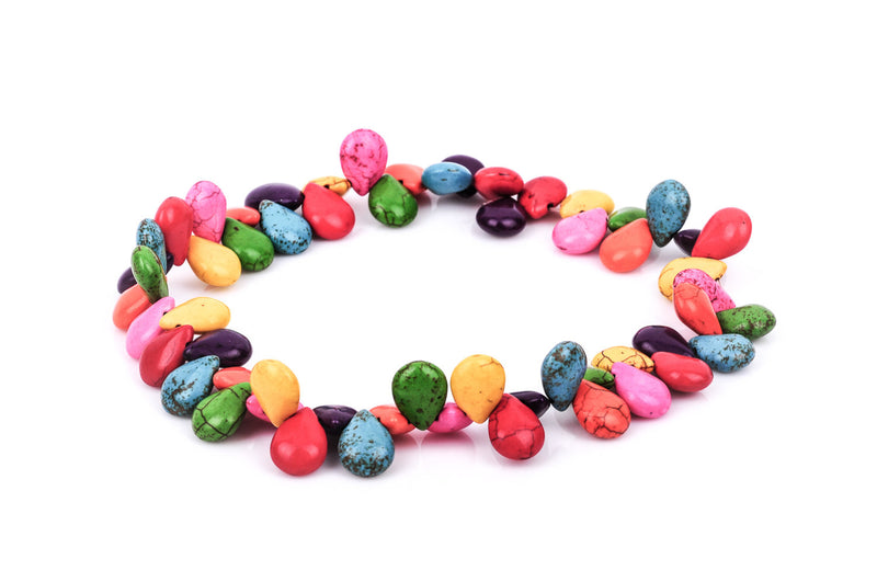 1 strand Howlite Stone Beads PUFFED TEARDROP BRIOLETTE  16x11mm, mixed colors  how0107