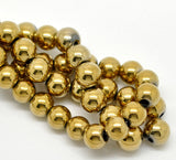 1 Strand 10mm Round Titanium Coated GOLD HEMATITE Gemstone Beads  ghe0006