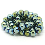 1 Strand 8mm Round Titanium Coated PEACOCK GREEN HEMATITE Gemstone Beads  ghe0013