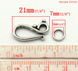 10 Sets Antique Silver Metal S Clasps with Soldered Ring, fcl0111