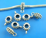 20 Silver Tone Bail Beads. Fits European Style Bracelets and Necklace Chains  FBA0018