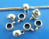 20 Silver Tone Bail Beads. Fits European Style Bracelets and Necklace Chains  FBA0019