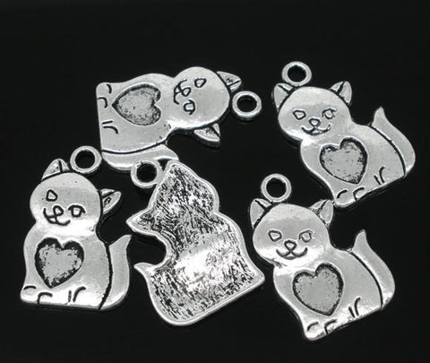 10 Silver Tone Metal Smiling CAT kitten Charms Pendants chs0724