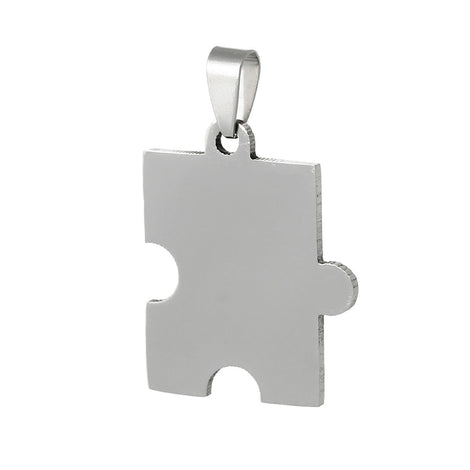 "2 Stainless Steel PUZZLE PIECE Metal Stamping Blank Charm Pendants with Bail, 1-5/8"" x 1"" . 15 gauge  msb0136"