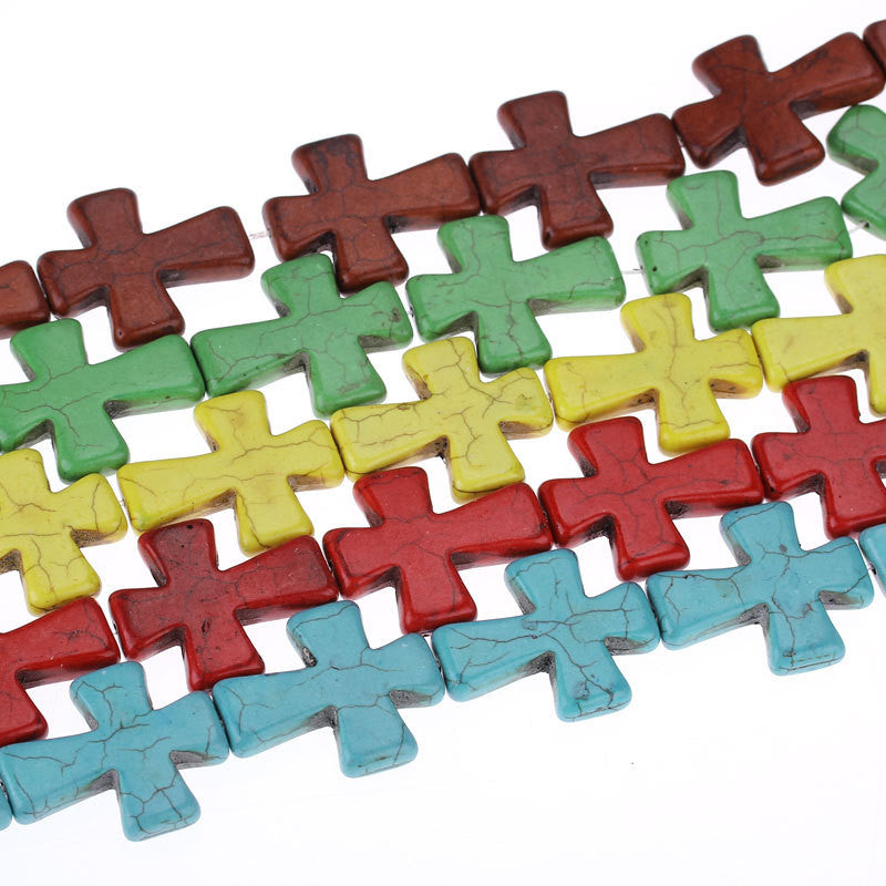 5 Strands bulk package Large Howlite Stone Beads MIXED COLORS Maltese CROSS  36x30mm  how0314
