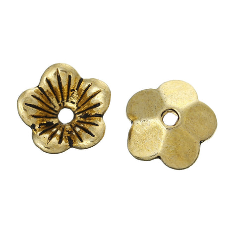 50 Gold Tone FLOWER Metal Bead Caps 10x10mm  fin0230