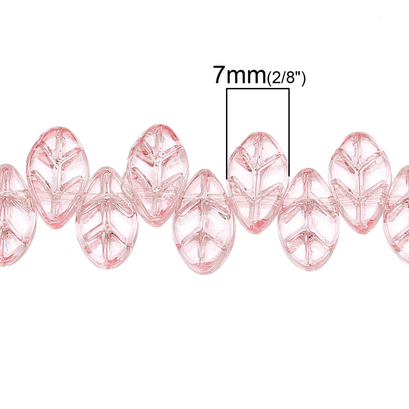 20 LIGHT PINK Carved LEAF Glass Beads, top drilled, 11x7mm  bgl0707