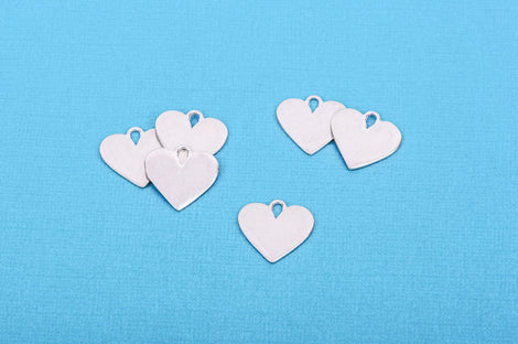 "2 pcs HEART Shape ImpressArt Soft Strike PEWTER™ Metal Stamping Blanks Charms, 3/4"" (19mm)"