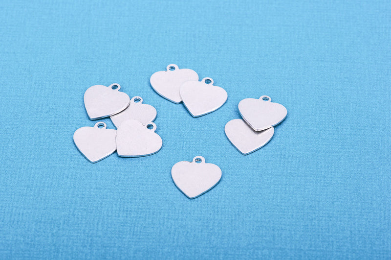 "10 pcs Small HEART ImpressArt Soft Strike ALUMINUM™ Metal Stamping Blanks Charms 1/2"" (13mm) Tag"