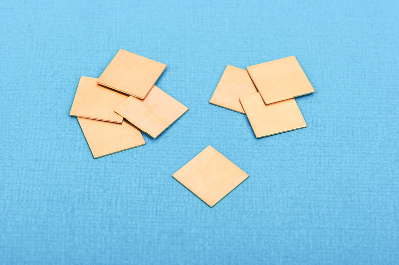"10 Gold Brass SQUARE Metal Stamping Blanks 12.5mm (1/2"") 24 gauge  msb0161"