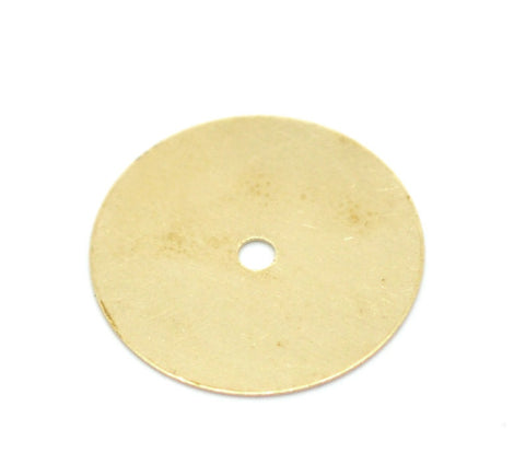 10 Brass CIRCLE DISC Metal Stamping Blanks, center punched hole, 18mm, 28 gauge  msb0169