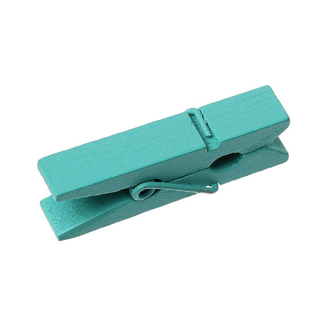 50 bulk package Small Painted Wood Clothespin Clip Findings, TEAL TURQUOISE BLUE  fin0232