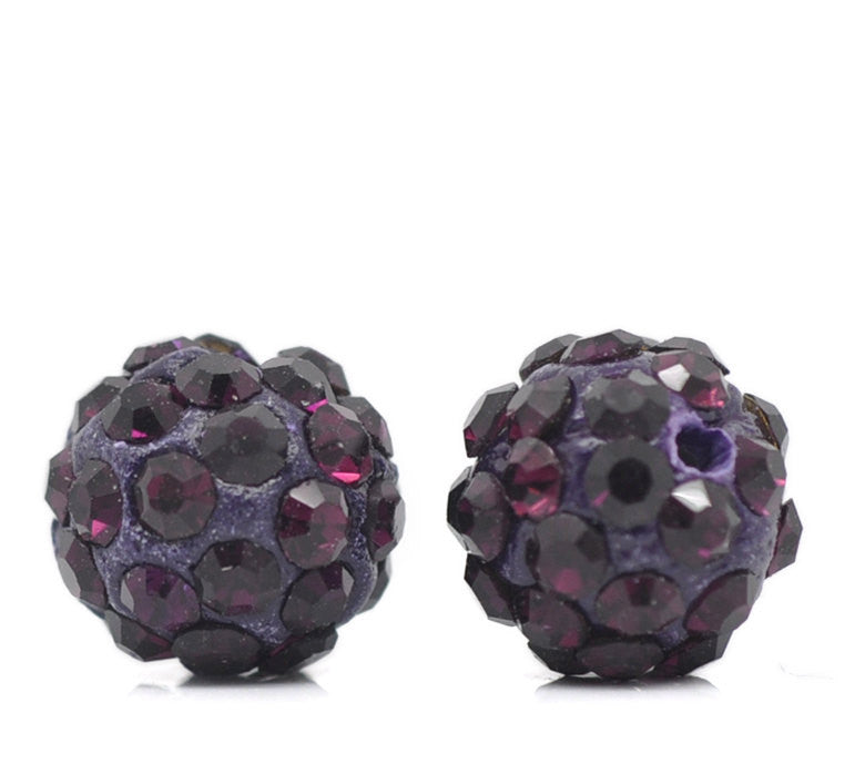 10 Bulk Package DARK PURPLE Polymer Clay and Pave' Round Rhinestone Beads, 10mm  pol0102