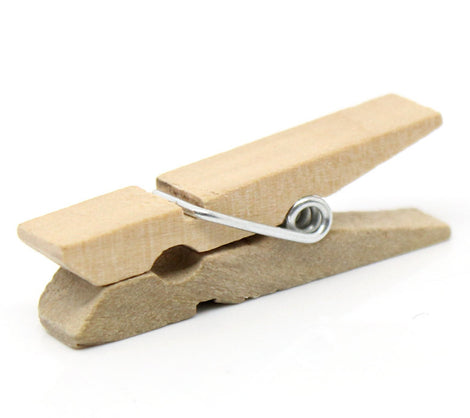 50 bulk package Small Wood Clothespin Clip Findings,  fin0247