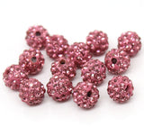 10 PINK Polymer Clay and Pave' Rhinestone Beads, 10mm  pol0107