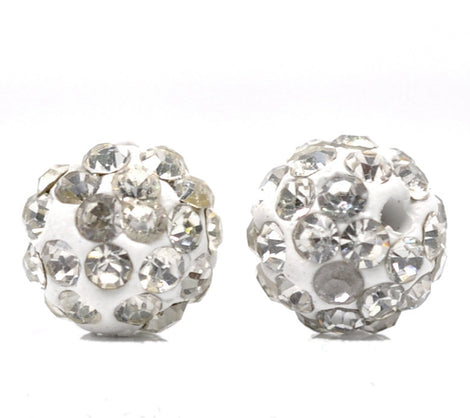 10 WHITE Polymer Clay and Clear Pave' Rhinestone Beads, round 8mm  pol0114
