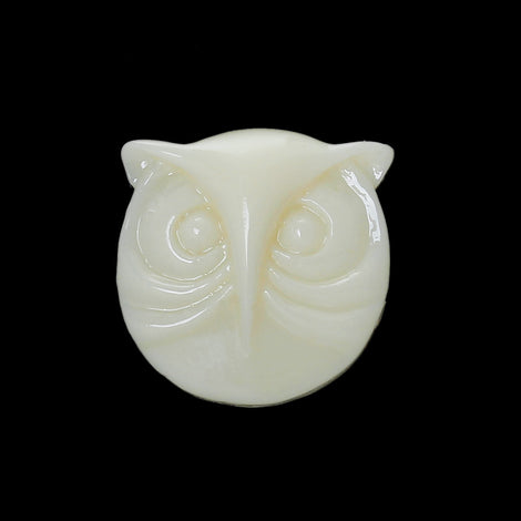 10 Round Resin IVORY OWL Cabochons, 16x15mm  cab0201
