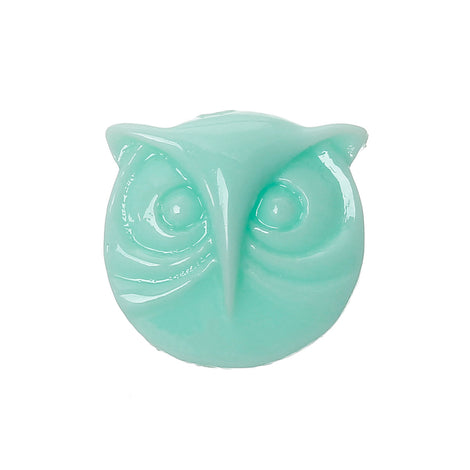 10 Round Resin MINT GREEN OWL Cabochons, 16x15mm  cab0204