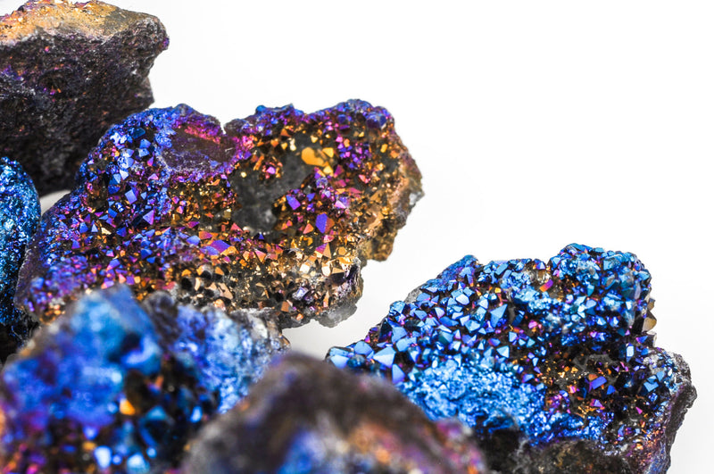 Half Strand Nugget Beads, Titanium Coated Crystal DRUZY AGATE Geodes, Purple, Blue, Gold gdz0028