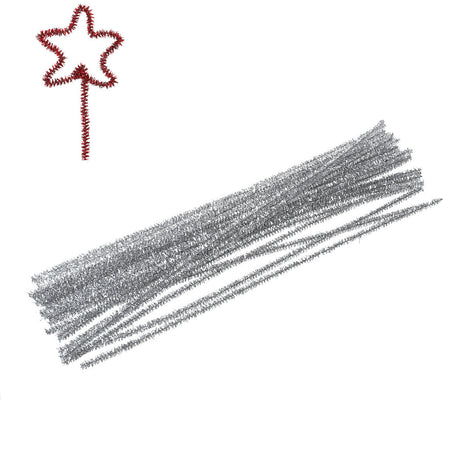 100 Chenille Stems, Pipe Cleaner Sticks, craft supplies, SILVER METALLIC  cft0002