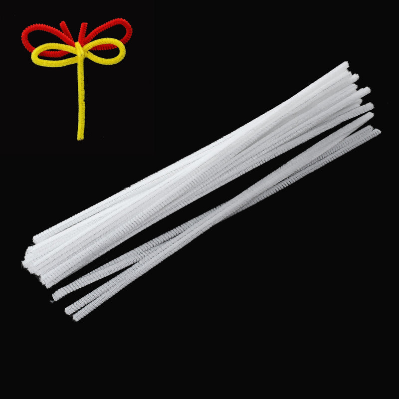 100 Chenille Stems, Pipe Cleaner Sticks, craft supplies, WHITE FLOCKED  cft0009
