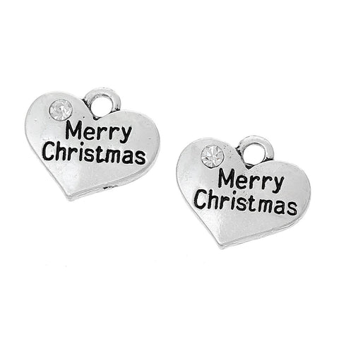 "1 Antique Silver Rhinestone ""Merry Christmas"" Heart Charm Pendant 17x14mm  chs1393a"