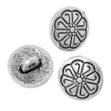 10 Antique Silver Metal Round FLOWER Circle Shank Buttons for Jewelry Making, Scrapbooking, Sewing  but0180