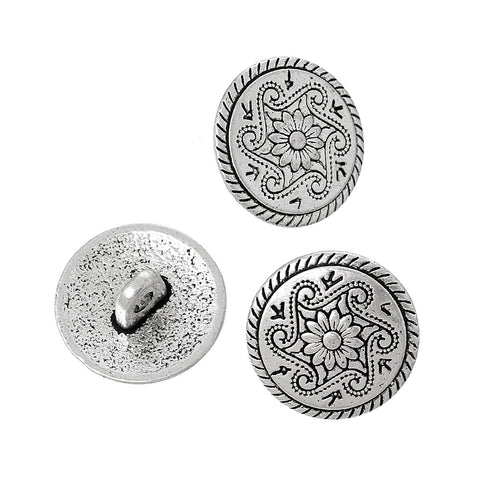 10 Antique Silver Metal Round FLOWER Circle Shank Buttons for Jewelry Making, Scrapbooking, Sewing  but0183