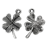 10 Antique Silver FOUR-LEAF Clover Charm Pendants  chs1400