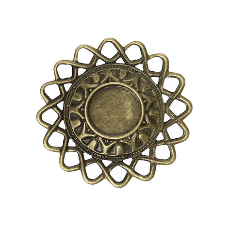 10 Antique Bronze Vintage Filigree Circle Metal Cabochon Setting Embellishment Findings (fits 16mm cabs)  fil0042